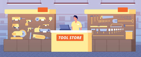 Toolstore interior. Tools shop, construction hardware on shelf. Salesman at counter showing instruments for builders vector illustration. Repair store, shop interior with instrument Stock Illustratie
