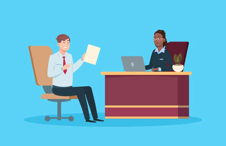 Man on job interview. Isolated work meeting, HR management or recruitment agency. Cartoon male employee and business woman have conversation. Young manager and boss vector illustration