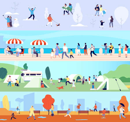 People outdoor activities. Seasonal walking man woman children. Winter summer autumn and spring time banners with tiny characters. Camping vacations, seafront walk vector illustration