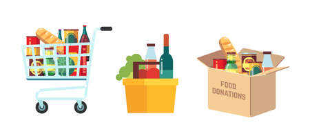Shopping food carts. Grocery store, supermarket full basket with products. Isolated market pushcart. Box for donations with preserves. Shop and charity vector illustration. Basket from supermarket Ilustração