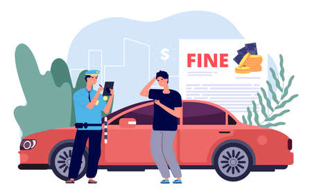 Man and police officer. Policeman writes out fine, traffic violations and improper parking. Confused boy driver on red sport car. Financial losses, fines for driving vector illustration.