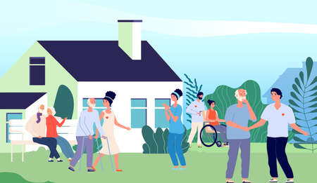 Nursing home. Elderly people walking backyard with volunteers and nurse. Pension house in suburb landscape. Happy old woman man outdoor vector illustration. People elderly, nursing aged woman and man
