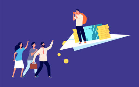Deception business partner. Betrayal, theft of money. Colleague stole funds. Tricky liar, guy flying with money on paper plane vector illustration. Deception partner, business fraud