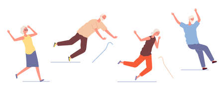 Falling elderly people. Old woman man stumble and slip. Dangerous trauma of seniors, healthcare and safety.