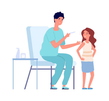 Pediatrician check up. Coronavirus vaccination child, flu or viruses prevention. Girl and medical nurse vector illustration. Medical pediatrician injection, hospital doctor