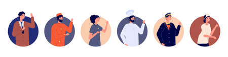 Hotel staff avatars. Hostel team, manager chef maid porter and receptionist. Greetings man and woman characters. Hospitality workers vector illustration. Avatar staff woman and man, business uniform