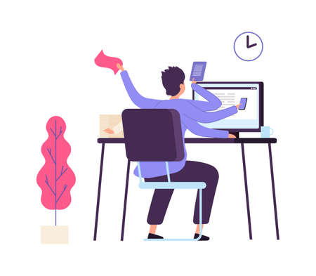 Manager at work. Administrator time management, office deadline. Man scheduled task, productivity vector concept. Businessman administrator at computer, office man multi-tasking illustration Vektoros illusztráció