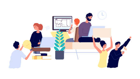 Product developers. Business project implementation from idea to launch. Teamwork, people working step by step. Idea and marketing, freelancers chain vector illustration. Development launch project