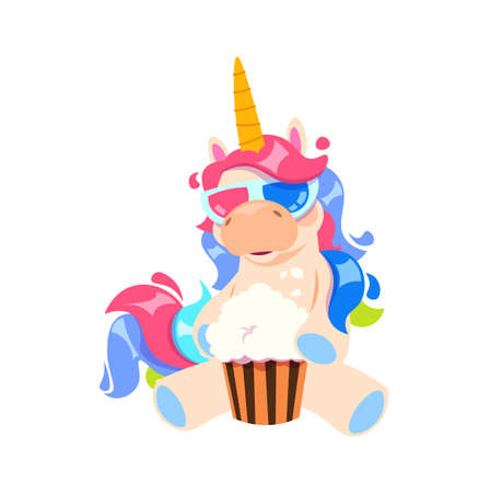 Magic cartoon unicorn. Isolated cute little pony eating popcorn in cinema. Magic hero watch 3d movie in special glasses vector illustration. Popcorn cinema and unicorn watch movie