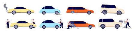 Car repair. Auto services, diagnostic wheels maintenance. Auto mechanic working with automobile, transport troubleshoot vector illustration. Auto mechanic repair, vehicle automobile diagnostic
