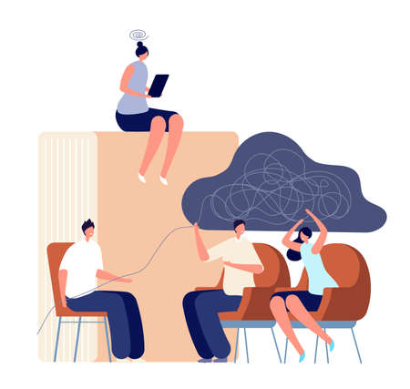 Psychologist service. Therapist counseling family couple, psychology session. Adults psychotherapy, self therapy with book vector concept. Psychotherapy by therapist, illustration mental support