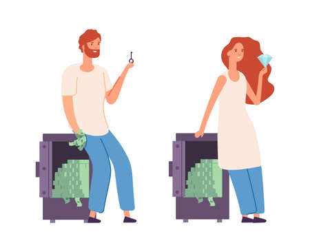 Rich characters. Wealth woman man with money. Cash in safe, people holding key and brilliant. Investment, successful business project vector illustration. Cash and wealth in safe. rich people