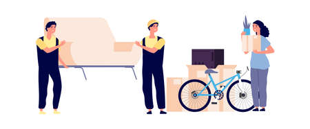 Girl moving new apartment. Loader carry sofa, woman holding cardboard box. Fast delivery and transportation service vector illustration. New apartment move, girl unpacking and carrying Illustration