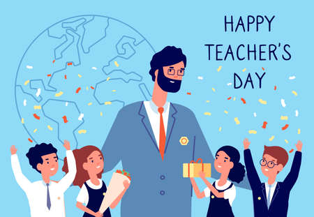 Teachers day. Flowers to teacher, students kids in uniform. International holiday of education. Happy children with gift vector illustration. Teacher happy day, student greeting and smile