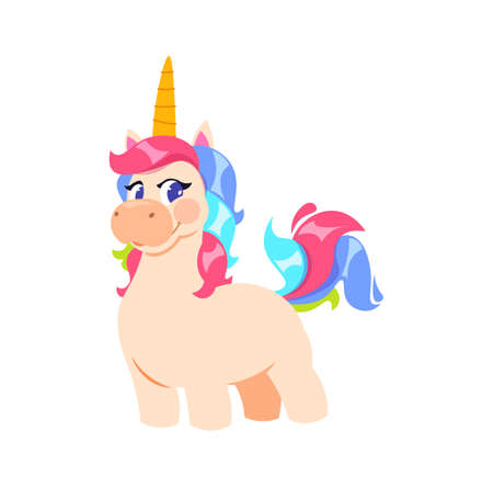 Cute isolated unicorn. Cartoon little fairytale pony, baby fabric print. Magic horse vector illustration. Magic unicorn animal, cute sweet horse Illustration
