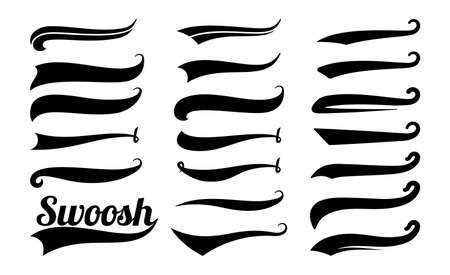 Swoosh tails. Swirl sport typography element, isolated curly text pennants. Black retro calligraphy strokes or ornament designs vector set. Curve swash drawn, scroll ornament calligraphic illustration Vetores