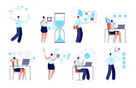 Successful time management. Entrepreneur organizing activity, manager planning work. Tasks or schedule, productive office vector illustration. Business entrepreneur, management professional