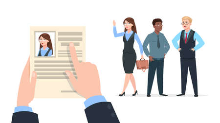 Office worker recruitment. Human resource hire employee, recruiter choices. Happy young woman has job, Hr manager choose female and not man. Business success, cartoon people vector illustration