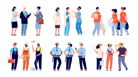 Groups of professionals. Essential workers, social service and volunteers. Isolated teachers doctors farmer repairman characters. Different professions vector illustration. Essential worker occupation Illustration