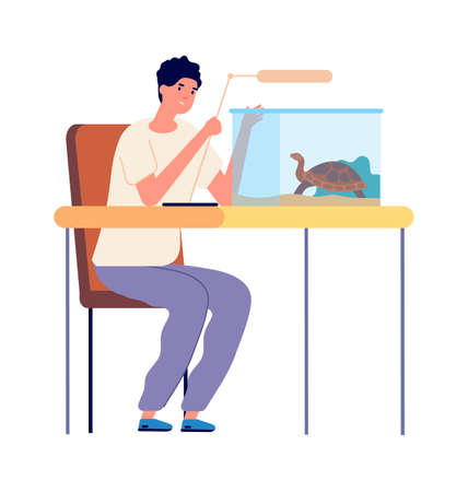 Domestic turtle. Aquarium for reptiles, guy playing with pet. Veterinarian caring for wild animal vector illustration. Domestic pet turtle, tortoise in aquarium, funny character Illustration