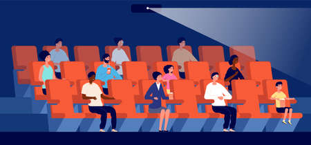 People in cinema. Movie theater, multicultural audience watch film. Little viewers, couple sit on red seat in auditorium vector illustration. Cinema theater entertainment, auditorium theatre Illusztráció