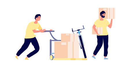 Loaders service. Men hold boxes, smart cargo transportation. Flat isolated delivery man working vector illustration. Cargo delivery, box carry by loader