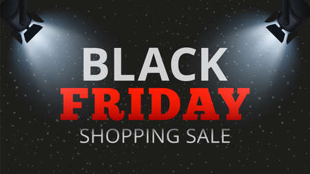 Black friday shopping sale. Special offers and discounts banner, store or web ads poster template. Spotlights illuminate inscription on dark vector background. Black friday illuminate illustration