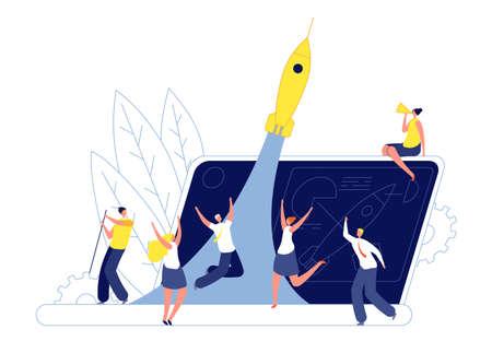 Innovation teamwork startup. Technological emerging company, team launching rocket. New idea project, creative business vector illustration. Startup idea innovation Vetores