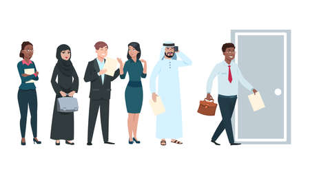 People queue. Job seekers in waiting line with resume in hands. Office workers wait time to enter, man going in door. International professionals man woman cartoon vector characters illustration