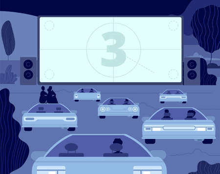 Car cinema. Large kino theater, outside drive movie scene. Audience in autos, open sky entertainment. Couple night relax vector illustration. Entertainment car movie, theater cinema in air Vecteurs