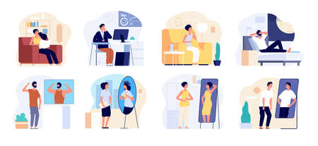 People and mirrors. Dreamy person, affirmation or criticism. Young teen dreaming future, confidence vanity. Lazy self motivation vector set. Illustration woman and man dream improve self Çizim
