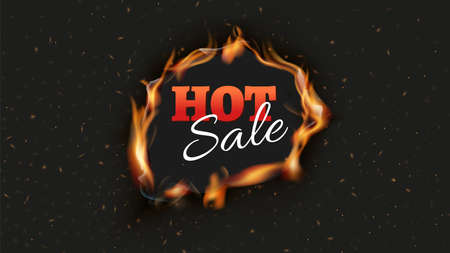 Hot sale banner. Burn discount ads black background. Fire hole with tongues of flame and sparks poster design template. Realistic flame vector illustration. Advertising discount and offer