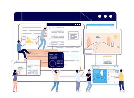 Web content management. Digital blog, social media designers and writer. Blogging, modern education or programming team vector illustration. Analysis optimization website, personalization technical Vektorové ilustrace