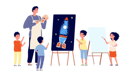 Children art studio. Kids drawing, painter teaching boy and girl paint. Kindergarten or school lesson vector illustration. Drawing art, children painter education Illustration