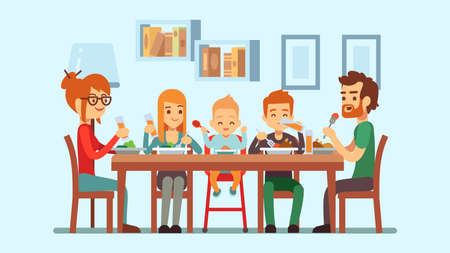 Festive family dinner. Happy parents eating with cute children. Baby, girl boy mother father celebrate holiday vector illustration. Dinner family celebration at table with meal