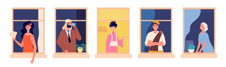 International friendly neighbors. Multicultural apartment house, people nationality in windows. Man woman characters stay home vector illustration. Neighborhood happy, group character neighbor