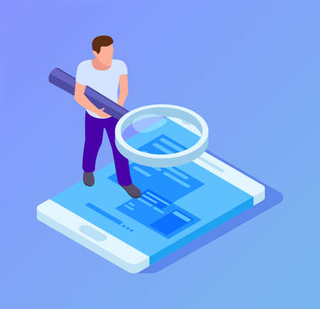 App tester. Isometric man testing mobile app. Man with magnifying glass looks at screen of smartphone vector illustration. Software tester app, man development and testing Illustration