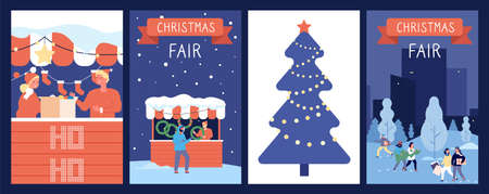 Christmas market cards. Holiday poster, new year or xmas fair, festive decorations. Happy cartoon people and red counters, winter time vector illustration. Fair holiday new year and christmas market