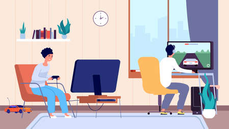 Gamers at room. Couple play video games, digital entertainment addiction. Stay home, man woman spend time fun vector illustration. Woman and man gamer game with joystick