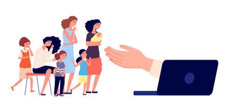 Online psychologist support. Crying female group, victims of harassment. Depressed adult woman and girls. Psychotherapy web help service vector illustration. Support psychologist online