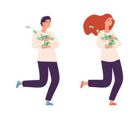People with cash. Rich girl boy, happy wealthy female male flat characters. Isolated fun lottery winners or young successful business person vector illustration. Girl saving currency, fund earnings Illustration