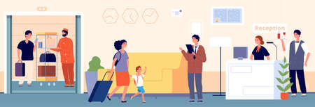 Hospitality. Hotel hostel reception. Manager receptionist and waiter travellers. Porter and guest in elevator. Team and tourists in lobby vector illustration. Hotel hospitality reception service
