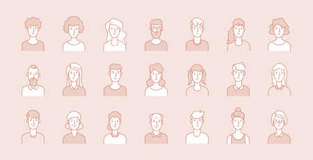 People avatars. Modern business corporate faces, line male female portraits. Young, adult and elderly ages users, modern outline character vector set. Illustration face female and man