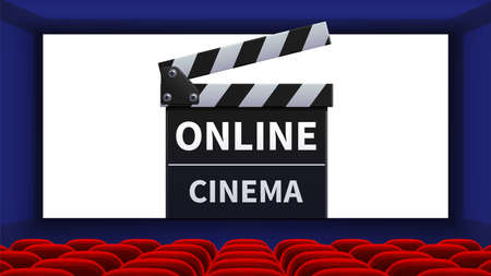 Realistic cinema. Movie theater interior, online film screen. Red chairs and movie clapper vector illustration. Movie cinema interior, realistic online premiere