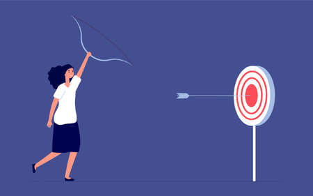 Target goal. Female employee ambition, business woman success. Flat focus or leadership, aspiration forward and progress vector concept. Achievement professional, worker ambition illustration Illustration