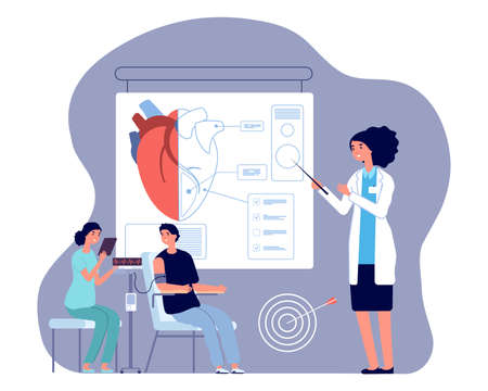 Cardiologist doctor. Heart check up, medical examination or prepare to operation. Man pressure measured vector illustration. Cardiology diagnosis, medical measurement pressure by doctor