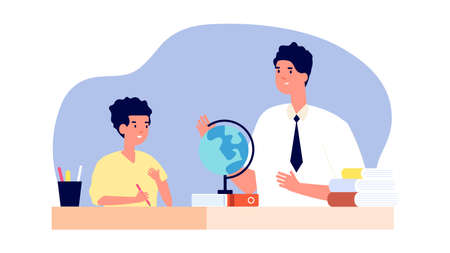 Private teacher. One to one training, boy on geography lesson. Student practice or part-time tutor for school children. Personal studying vector illustration. Education lesson, study boy child