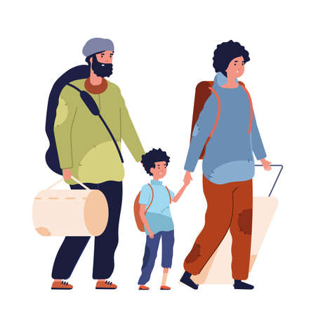 Poor family. Vagabonds, homeless refugee woman kid man. Desperate depressed people need help, isolated jobless adults vector characters. Illustration family poor homeless, woman and man refugee Illustration