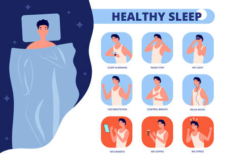 Healthy sleep. Tips for well sleeping, infographic of good night relaxation. Bedtime rules or tips, man in bed insomnia vector illustration. Tips recommendation better sleep and dream, no stress
