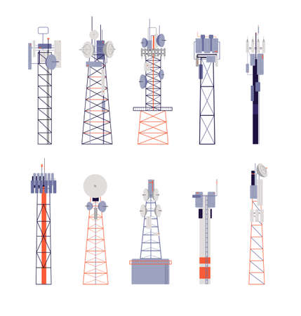 Wireless towers. Satellite communication, isolated radio aerial or cellular equipment. Antenna, telephone signal station vector illustration. Antenna radio, communication equipment aerial wireless Illustration